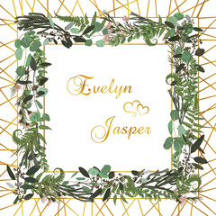 Vector floral card design. Green fern forest leaves herbs, eucalyptus, brunia, boxwood. Natural botanical Greeting wedding invite editable template.square Frame border