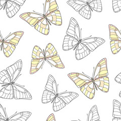 Butterfly on a white background. Vector set illustration. Insects art drawing. Seamless strawberry pattern for fabric design