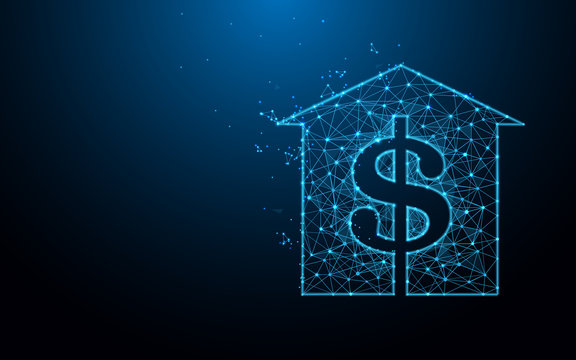 House with dollar sign icon from lines, triangles and particle style design. Illustration vector