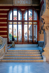 Stairs of interior of San Pau hospital in Barcelona