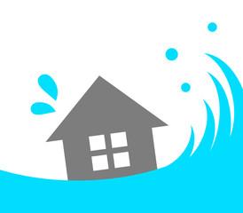 津波で流される家