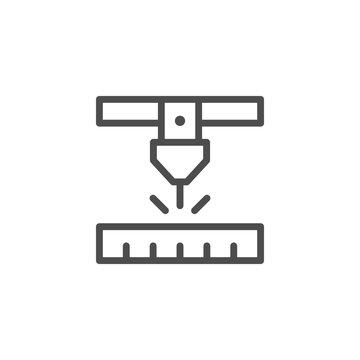 Laser cutting line icon