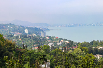 View of the Black sea coast from Batumi botanical garden, Georgia