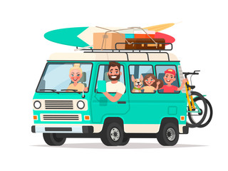 Happy family traveling in a touring van with luggage and bicycles on a white background