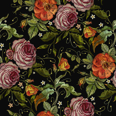Embroidery beautiful red roses and pink peonies seamless pattern. Fashionable template tapestry flowers renaissance. Template for clothes, t-shirt design