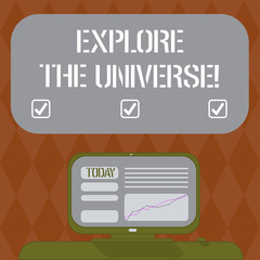 Writing note showing Explore The Universe. Business photo showcasing Discover the space and time and their contents Mounted Computer Screen with Line Graph on Desk Blank Color Text Box