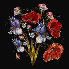Blue irises and red poppies bouquet of spring flowers. Embroidery medieval renaissance style. Fashion art nouveau template for clothes, t-shirt design