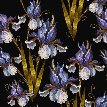 Beautiful spring irises, embroidery seamless pattern. Renaissance art. Fashion art nouveau template for clothes, t-shirt design