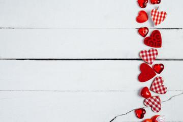 Hearts on white wood background - Image