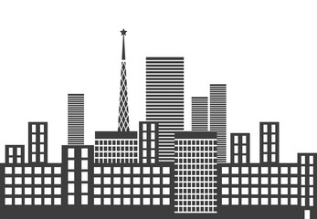 Silhouettes of urban buildings isolated on white background