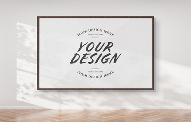 Wooden frame hanging on a wall mockup 3d rendering