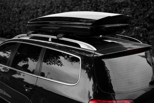 car roof trunk box in b&w low key
