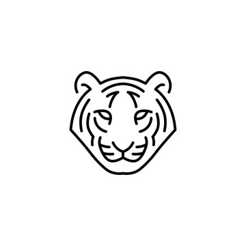 white tiger head logo vector icon illustration line outline monoline