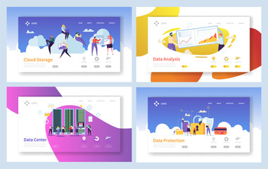 Secure Cloud Data Storage Analytics Landing Page. People Download Information to Memory Service Center. Woman Optimize Network Protection Concept for Website Flat Cartoon Vector Illustration