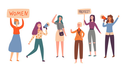 Women Feminism Character Group Protest Strike. Girl Holding Feminist Rights Placard on Democracy Demonstration. Female Political Organization Concept Flat Cartoon Vector Illustration