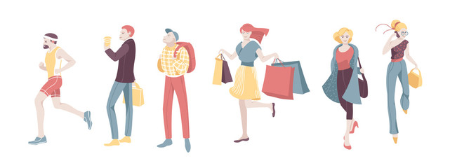 Various Urban People Character Walking Isolated Set. Guy Run, Woman Talk Smartphone and Shopping. Casual Businessman Holding Suitcase. Happy Female Collection Flat Cartoon Vector Illustration