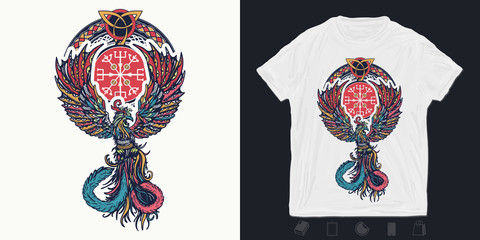 Magic birds. Print for t-shirts and another, trendy apparel design. Fire birds. Symbol of revival, regeneration, life and death