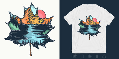 Fall outdoors. Autumn leaf and mountains. Print for t-shirts and another, trendy apparel design.  Symbol of tourism and adventure