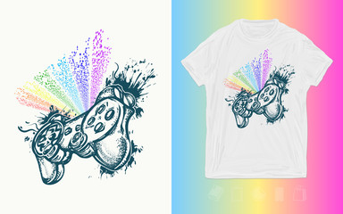 Pc and console game art. Cyber sport print for t-shirts and another, trendy apparel design. Controller and rainbow