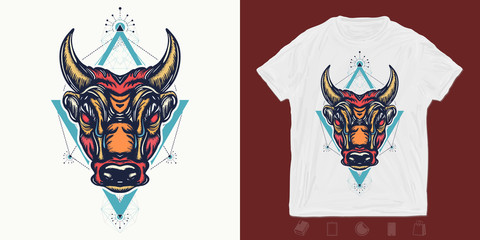 Angry bull. Print for t-shirts and another, trendy apparel design. Minotaur, symbol of bravery, fight, hero, army