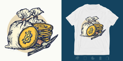 Golden coins and bag of money. Cryptocurrency bitcoin mining print for t-shirts and another, trendy apparel design