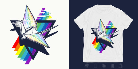 Origami crane. Print for t-shirts and another, trendy apparel design. Paper birds and rainbow. Creativity symbol imagination, multicultures, friendship
