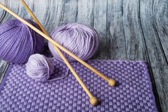 needlework crochet and knitting needles woolen threads