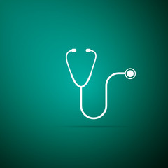 Stethoscope medical instrument icon isolated on green background. Flat design. Vector Illustration