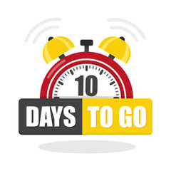 Number of 10 days to go flat icon. Vector stock flat illustration