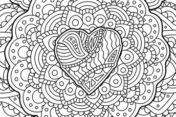 Coloring book art with heart on beautiful pattern