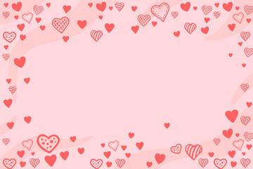Pink background with heart shapes and copy space