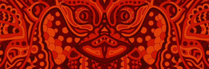 Creepy red pattern with ugly demons face