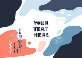 Vector template with space for text. Theme of underwater world, liquid abstract shapes
