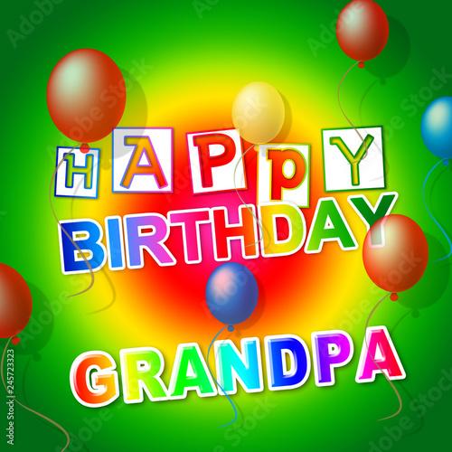 Happy Birthday Grandpa Balloons As Surprise Greeting For Grandad
