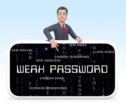 Weak Password Smartphone Shows Online Vulnerability And Internet Threat - 3d Illustration