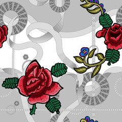 Baroque seamless pattern with chains and embroidery roses. Vector patch for scarfs, print, fabric