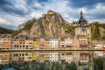 Wall Mural - Historic town of Dinant with river Meuse at sunset, Wallonia, Belgium