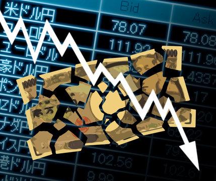 下がるグラフと破れた一万円札