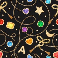 Fashion Seamless Pattern with Golden Chains, Straps and Gems. Fabric Design Background with Chain, Gemstones and Jewelry for Textile, Prints. Vector illustration