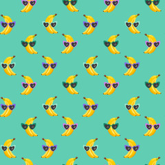 Banana funny Glasses seamless pattern for fashion print, summer texture, wallpaper, graphic design, tropical background, fruit illustration in vector