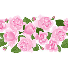 Roses flowers horizontal seamless pattern. Vector illustration of flower garland, border, frame isolated on white background. Cartoon, flat style.