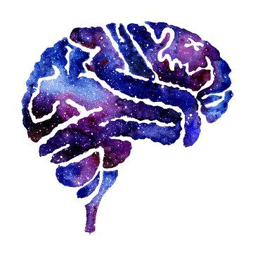 Blue brain with galaxy effect