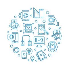 Mobile app Development vector round concept outline illustration