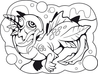 cartoon little water dragon, coloring book, funny illustration