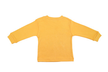 Blank yellow child top isolated on a white background.Back view