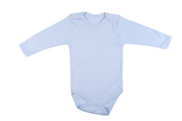 a4a6681b5 Long sleeve blue baby onesie isolated on white background