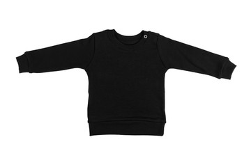 Children black long sleeve sweater isolated on a white background. Front view