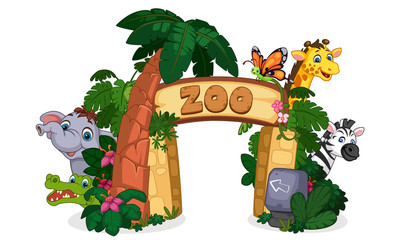 beautiful zoo entrance gate vector illustration