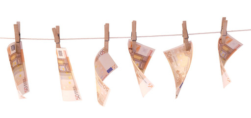 Money laundering, Banknotes Euro, isolated on white background