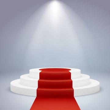 Realistic podium. Pedestal award winner ceremony first vip prestige spotlight carpet red, white round, vector image